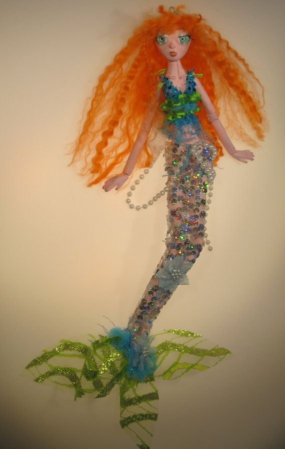 DIAMOND paper clay ball jointed mermaid puppet by Kaeriefaerie52, $55.00