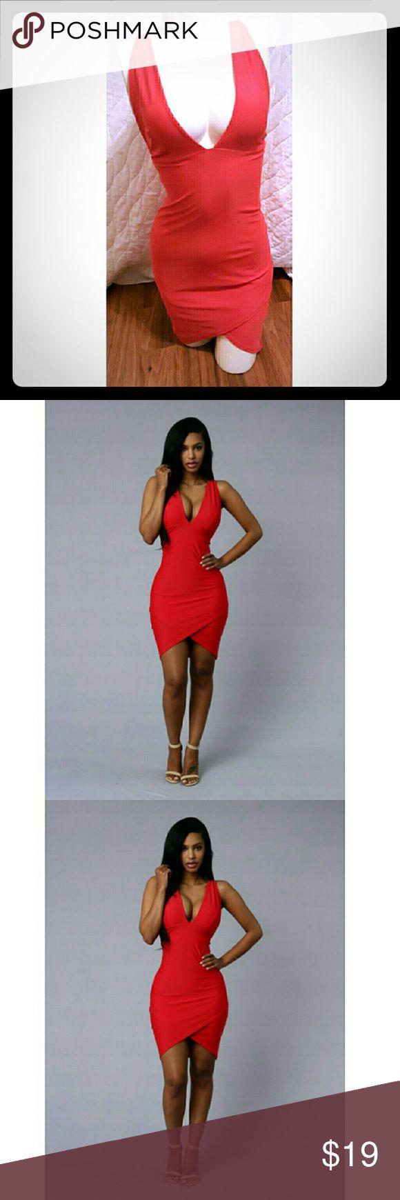 Red dress☆ミ ☆彡 Red dress nwot red body con stretch club party dress Dresses Midi