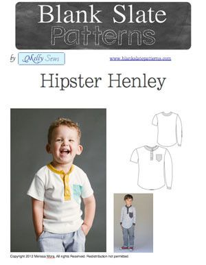 Hipster Henley shirt sewing pattern for boys and girls by Blank Slate Patterns ($7.95)