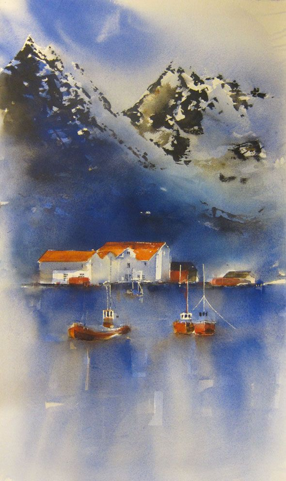 A New Day 98 x 54 cm watercolor  Hilde Eilertsen Sletvold