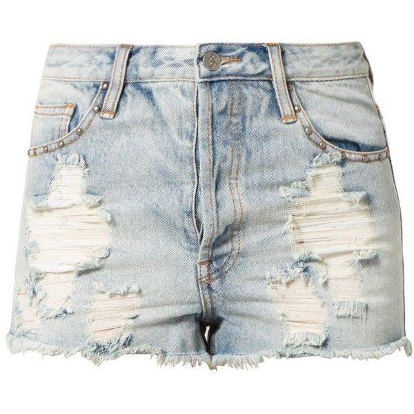 Evil Twin ABOUT TIME TRASHED Denim shorts ($56) ❤ liked on Polyvore featuring shorts, bottoms, pants, short, blue, evil twin, pocket shorts, evil twin shorts, blue shorts and blue jean shorts