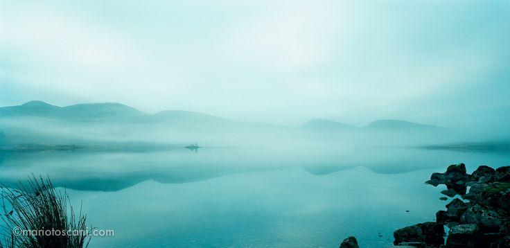 Misty lake in Scotland.