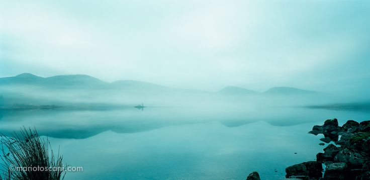Misty lake in Scotland.