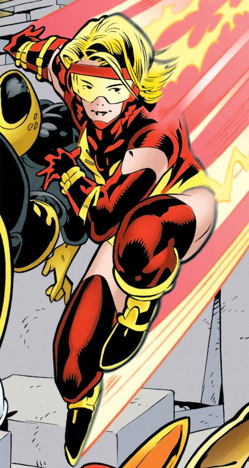 Jesse Quick (DC Comics) landing at super-speed. From http://www.writeups.org/jesse-quick-titans-dc-comics/