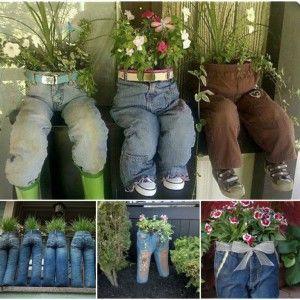 Wonderful DIY Old Jeans Planter