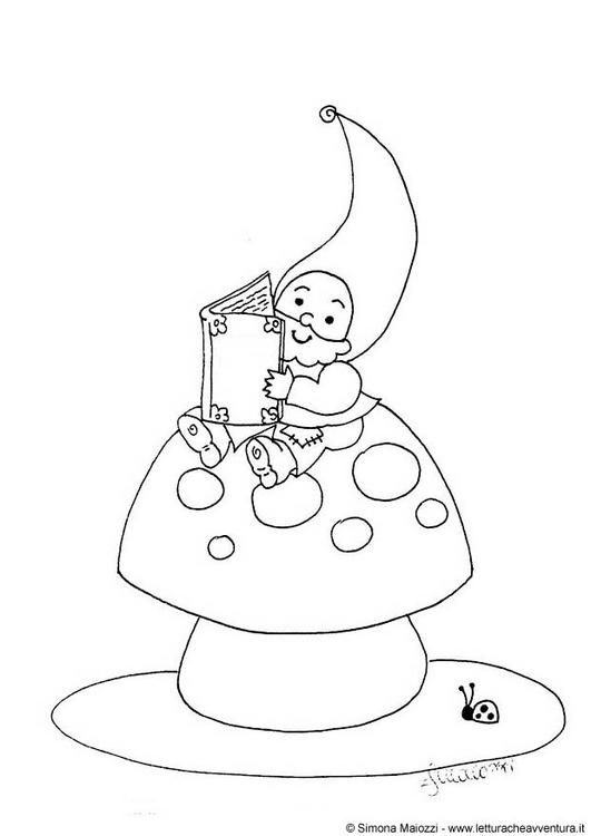 gnome, fly agaric 'shroom & ladybug coloring page