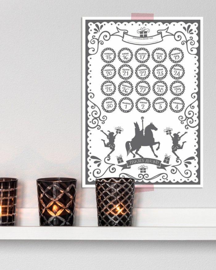 #Sinterklaas #5 december. #Pakjesavond. Freebie printable: Sint aftel kalender 2014. Gratis download van PrintCandy.