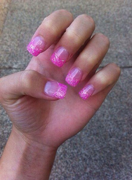 hot pink tip nails - photo #16