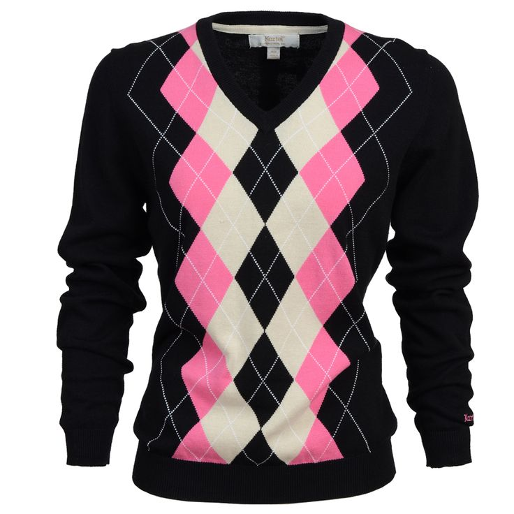 Kiera- Ladies V-neck argyle sweater