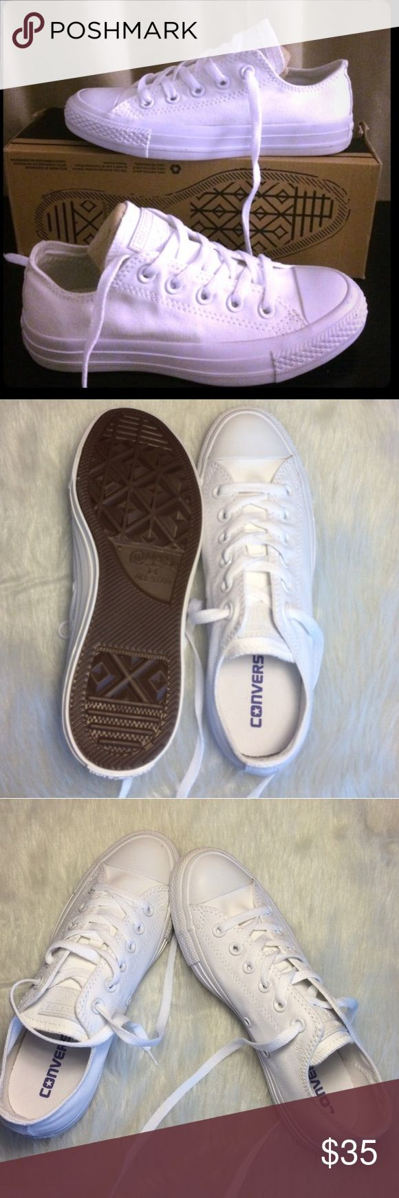 FLASH SALE CONVERSE ALL WHITE WOMENS SIZE 8 LOW ✨ All white low top 100% authentic Womens size 8 shoes, in like new condition. Without box. ✨ PRICE IS FIRM! Converse Shoes Sneakers