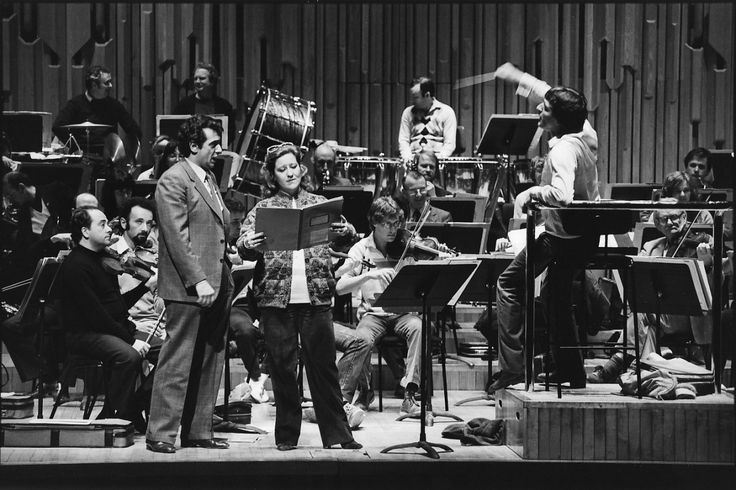 Placido Domingo and Luciana Serra rehearse with the ECO, 1983. Robin Stapleton conducts. Photo by Nick Scott.