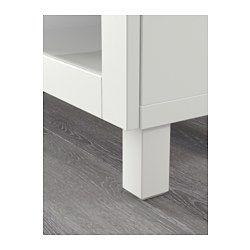 BESTÅ テレビ台, ラップヴィーケン, シンドヴィーク ホワイトステインオーク調 クリアガラス - 180x40x48 cm - 引き出し用スライドレール プッシュオープン - IKEA