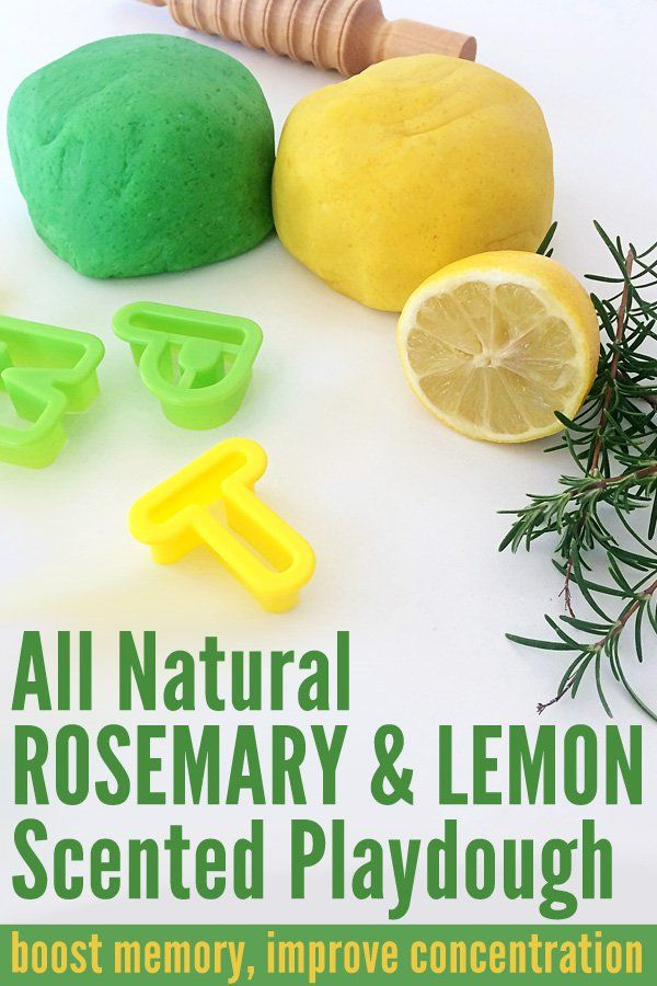 All natural Rosemary & Lemon Scented Playdough. These scents are believed to help with concentration and memory. Perfect playdough to use for learning activities such as making letters or sight words.