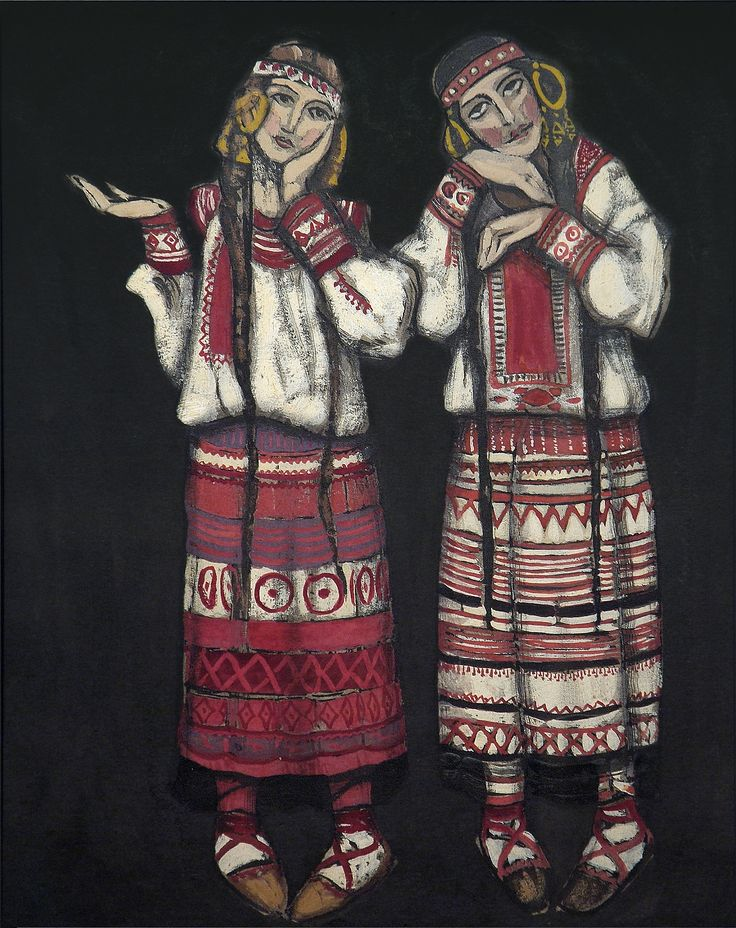 two-girls-1930.Nicholas Roerich