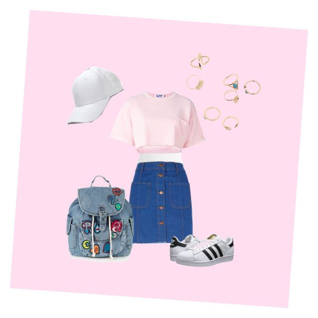 """👛👟👗"" by mara-dobrita on Polyvore featuring Sans Souci, River Island, Steve J & Yoni P, adidas Originals and Topshop"