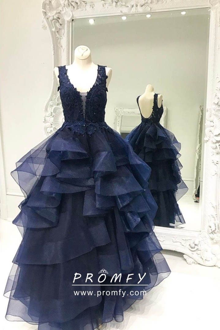 Vintage inspired dark navy lace and tiered flounced tulle long formal ball  gown. Sleeveless fdbd2722e