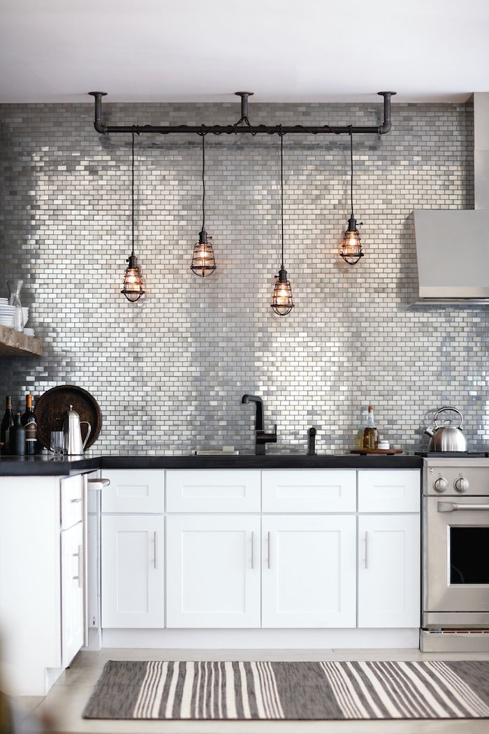 Interiors | Urban Metallic Kitchen - DustJacket Attic; LOVE metallic backsplash!