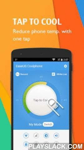 "EaseUS Coolphone-Cool Battery  Android App - playslack.com , Coolphone is designed to lower phone temperature, fix battery overheating and save battery life. To ""keep cool and carry on"", Coolphone introduces a new feature, Coolswipe. You can easily get quick access to your preferred apps and tools with a cool finger swipe.Key Features► Tap to cool phone downWith one tap, Coolphone can cool phone battery temperature and boost phone operation speed. Too complicated? Not smart enough? Just turn…"