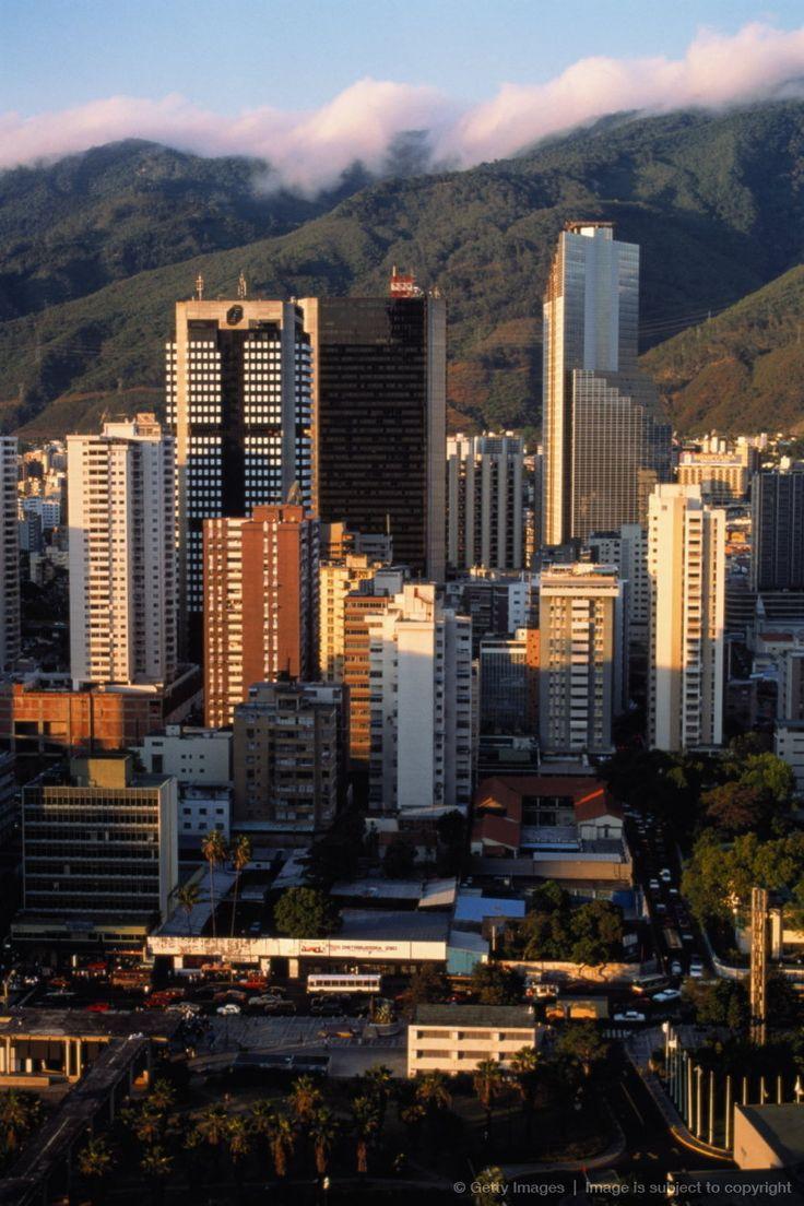 Venezuela,Caracas,downtown office buildings, Avila Mountain.