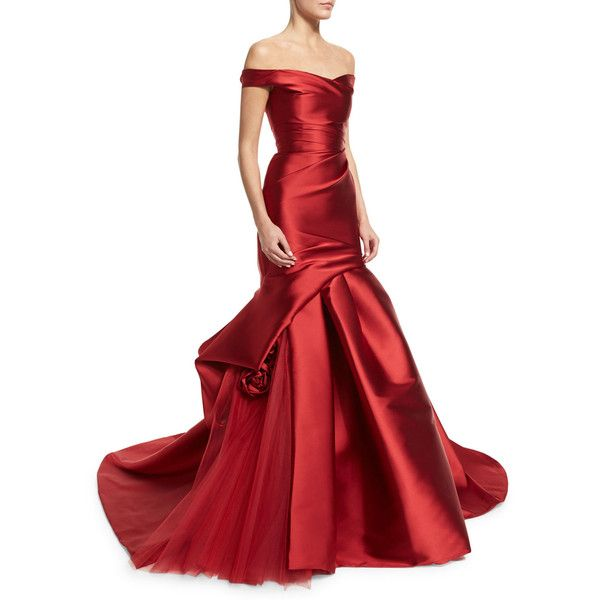 Monique Lhuillier Off-The-Shoulder Draped Trumpet Gown ($7,415) ❤ liked on Polyvore featuring dresses, gowns, gown, long dresses, deep red, red, red sweetheart dress, red gown, long red dress and red evening gowns