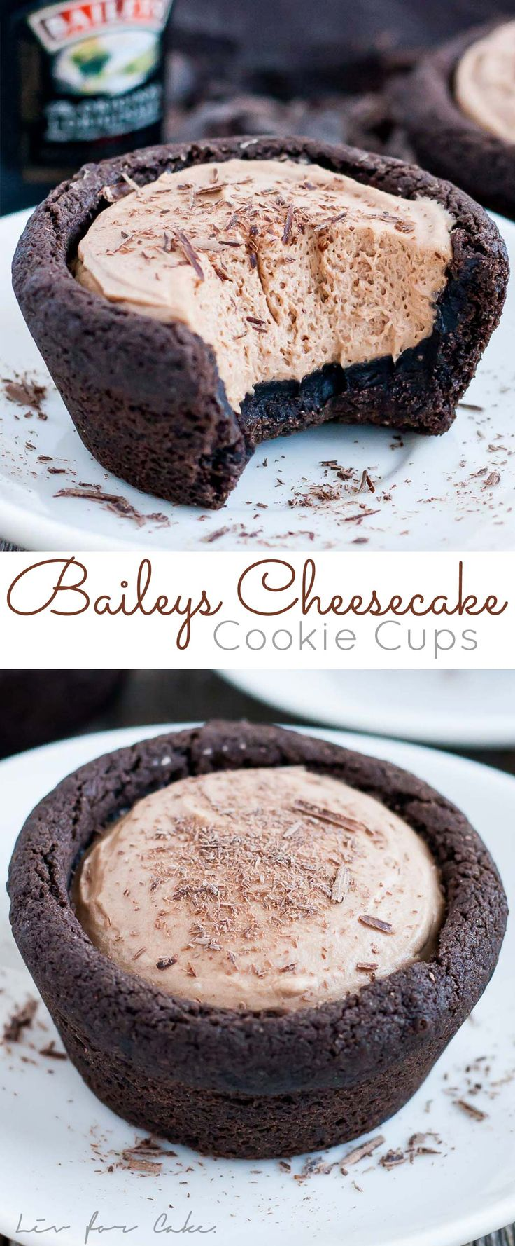 Chocolate cookie cups filled with a chocolate Baileys cheesecake. The perfect bite-sized indulgence! | livforcake.com