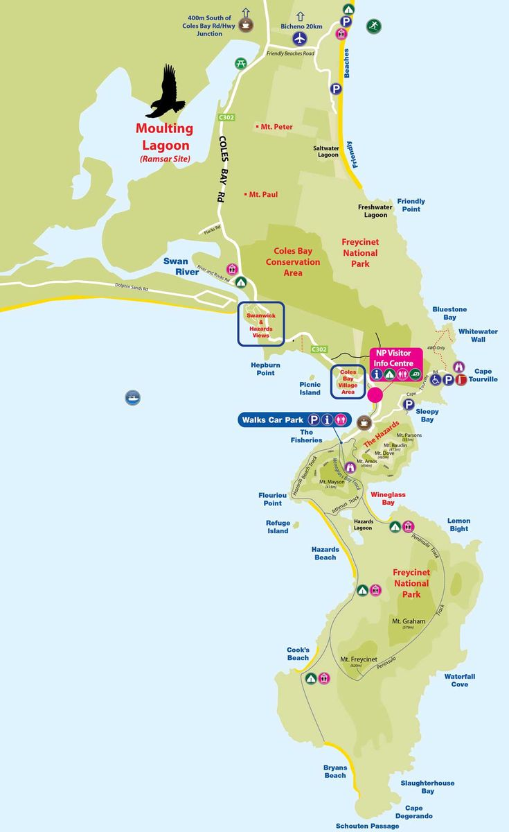 Map of Freycinet peninsula Places to visit Pinterest Tasmania
