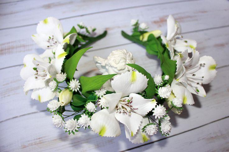 Wedding Flower Hair Wreath Bridal White Flower Halo White Alstroemeria Flower Baby's Breath Flower Floral Headband Wedding Flower Crown by TheWorldOfBeauty2015 on Etsy