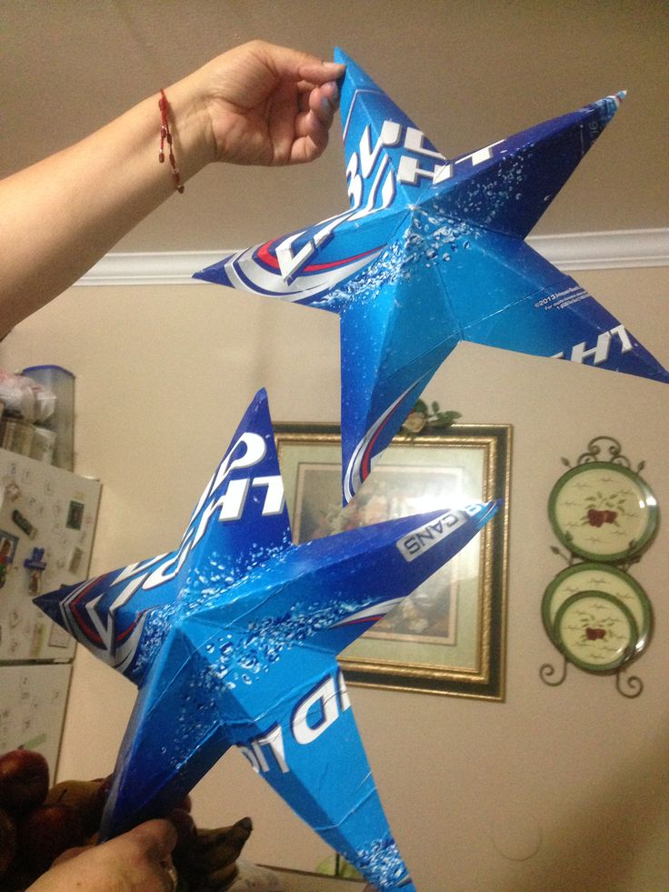 These are stars made from Bud Light cartons
