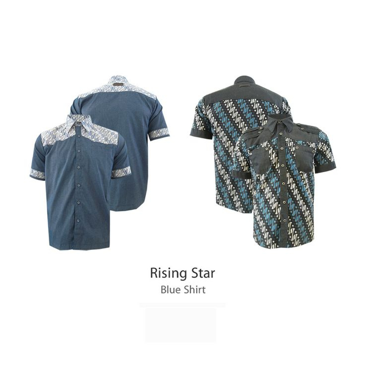Blue Shirt - Rising Stars  #kemejabatikmedogh  http://medogh.com/baju-batik-pria/kemeja-batik-pria