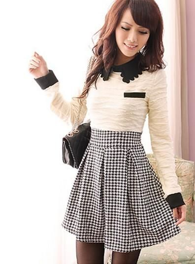 White and Black Checkered Dress Combined with Retro Style Skirt 1