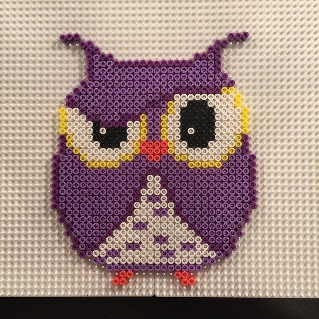 Purple owl hama perler beads by aslaugsvava