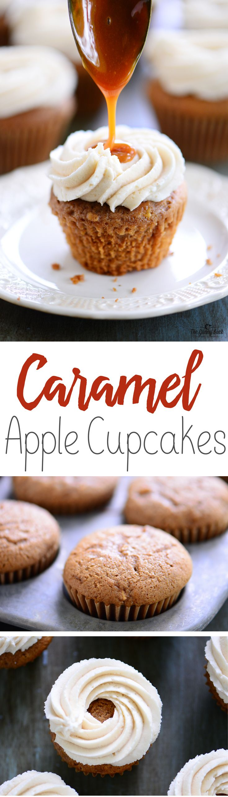 Mouthwatering Fall Dessert Recipe: Caramel Apple Cupcakes made with easy apple cupcakes, cream cheese buttercream frosting and warm caramel drizzled on top. #AppleButterSpin #ad