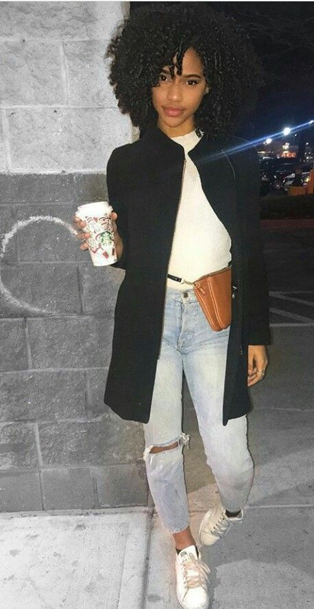 Simple, cute, ripped denim, white tee and black pea coat! | Looks great on a young fashionista!