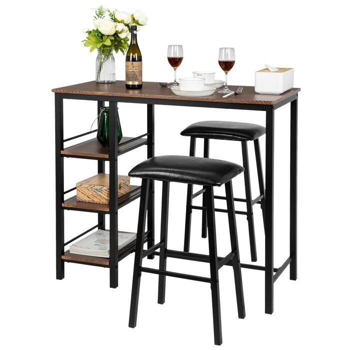 Tribesigns 3-Pcs Pub Dining Bar Table Set Counter Height with 2 Storage Shelves