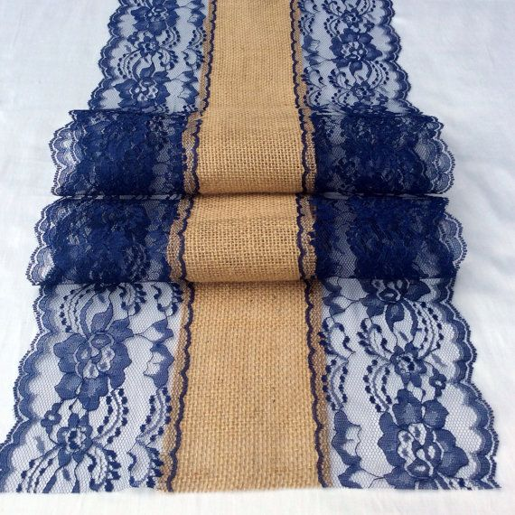 10ft Navy Blue Lace Burlap Table Runner 10in By LovelyLaceDesigns
