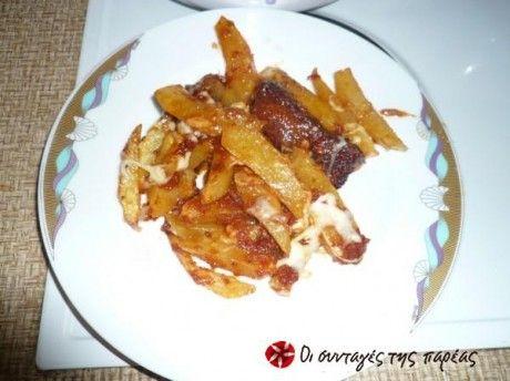 Μοσχαράκι με πατάτες τηγανητές στο πήλινο