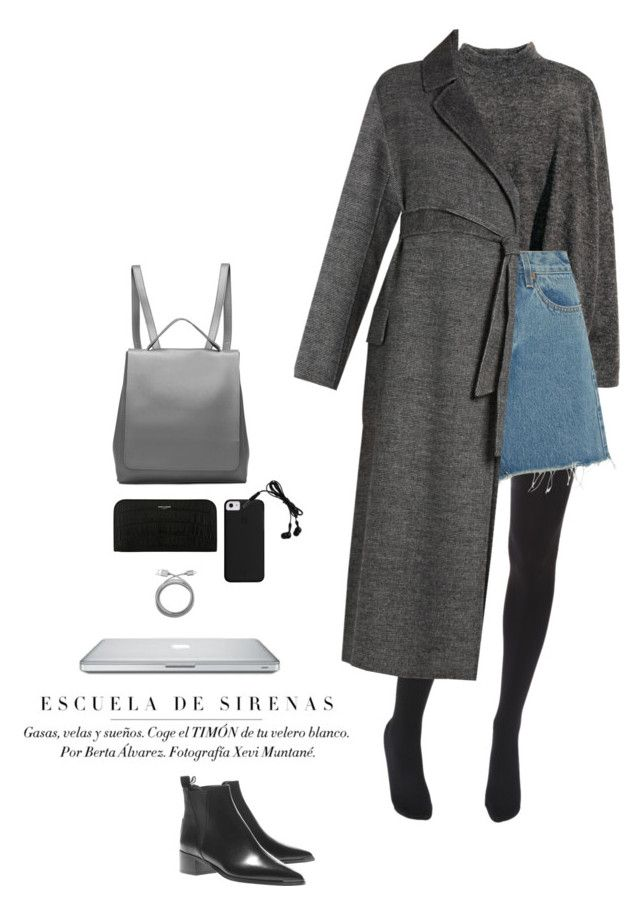 """""""University look"""" by djulia-tarasova ❤ liked on Polyvore featuring Belkin, Acne Studios, Wolford, RE/DONE, Weekend Max Mara and Yves Saint Laurent"""