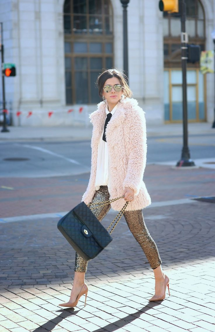 fur jacket, sequin pants, everything!