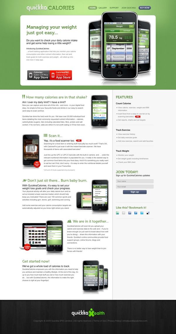 Quickka Calories iPhone website by Ross MacKintosh, via Behance