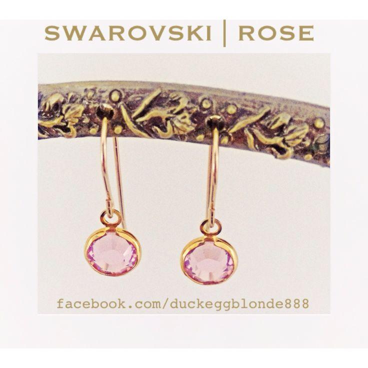Swarovski crystal drop earrings in Rose
