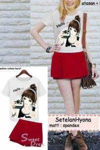 Hyonna Set Bahan: Kaos Bangkok (Kaos Oblong + Celana Rok) Size: Lebar/panjang atasan: 42/58cm, celana: 33/33cm Kode Produk: C2623 Harga: Rp. 59.000