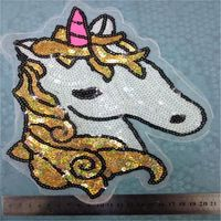 Embroidered iron on patches for clothes brand unicorn sequins deal with it clothing DIY Motif Applique Free shipping