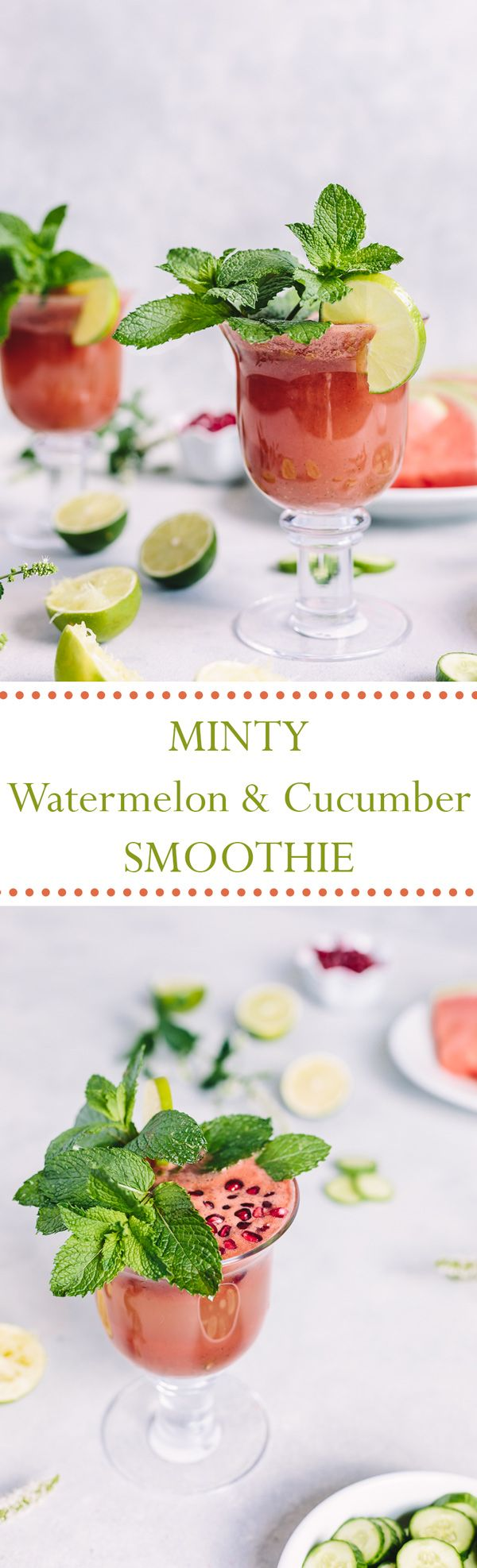 Minty Watermelon Cucumber Smoothie - A refreshing summer smoothie made with fresh mint, watermelon, cucumber, and lime juice. Vegan + GF + No sugar added.