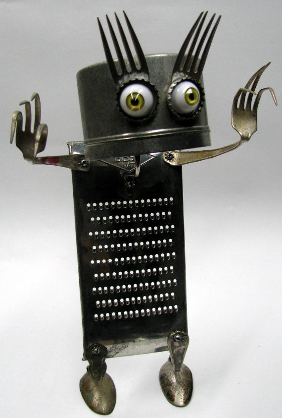 "RECYCLED Reused Upcycled  ROBOT  Sculpture - ""Look into my Eyes""   -  fond objects art"