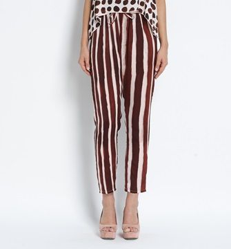 YES ZEE- Pantaloni con coulisse in vita a righe marrone