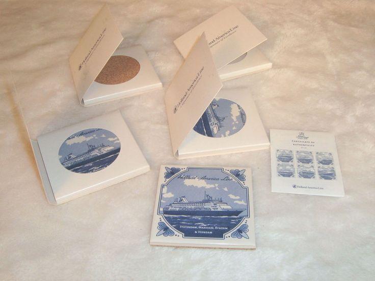 Set of 4 Vintage New Holland America Cruise Line Ceramic Coasters W/ COA #HollandAmericaCruiseLine
