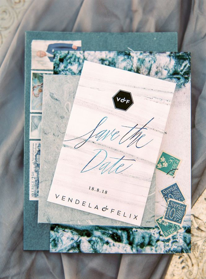 Teal travel inspired save the dates: http://www.stylemepretty.com/destination-weddings/2016/11/10/faro-inspired-wedding-shoot/ Photography: 2 Brides - http://2brides.se/