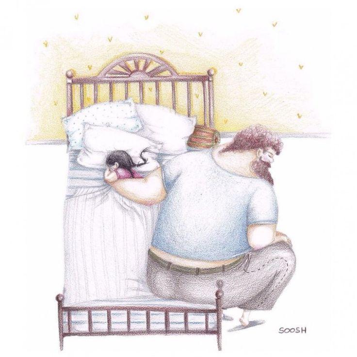 El amor entre un padre y su pequeña en 14 tiernas ilustraciones