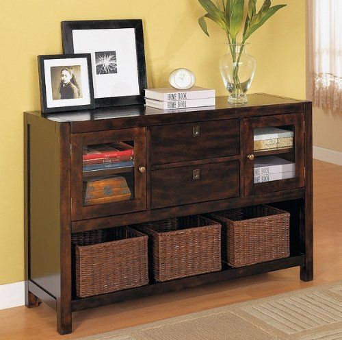 Beautiful Storage Console Sofa Table W Baskets By Coaster