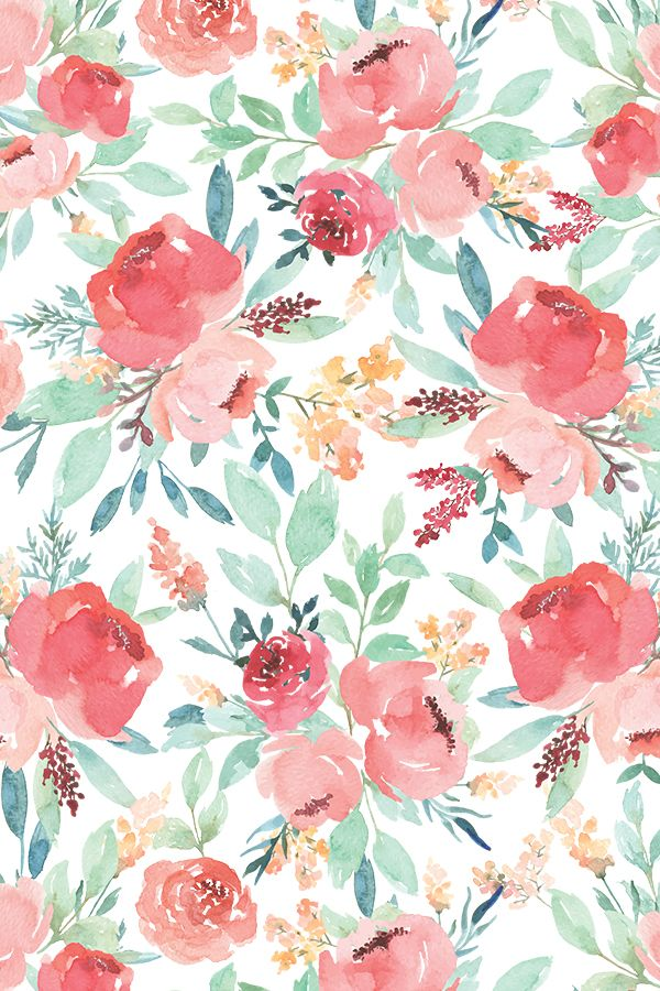 Watercolor Fl Taylor Bates Hand Painted Wallpaper Pink And Green Flowers Wall